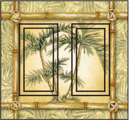 Bamboo Palm Double Rocker SwitchStix Peel and Stick Switch Plate Cover Décor