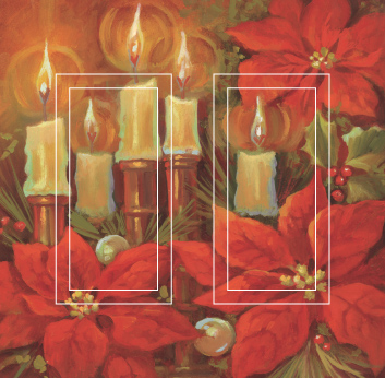 Poinsettia & Candle Double Rocker SwitchStix Peel and Stick Switch Plate Cover Décor