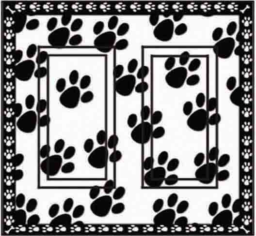 Dog Paw Prints Double Rocker SwitchStix Peel and Stick Switch Plate Cover Décor