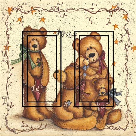 Ted E Bear 1A Double Rocker SwitchStix Peel and Stick Switch Plate Cover Décor