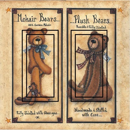 Ted E Bear 1B Double Rocker SwitchStix Peel and Stick Switch Plate Cover Décor