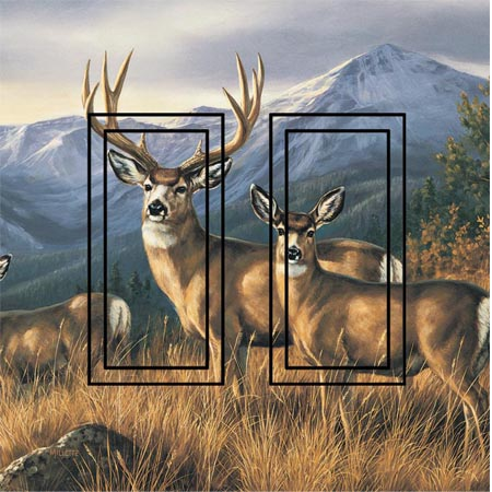 Deers Double Rocker SwitchStix Peel and Stick Switch Plate Cover Décor