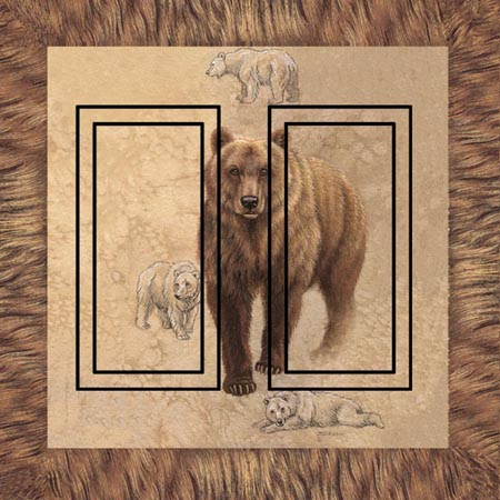 Brown Bear Double Rocker SwitchStix Peel and Stick Switch Plate Cover Décor
