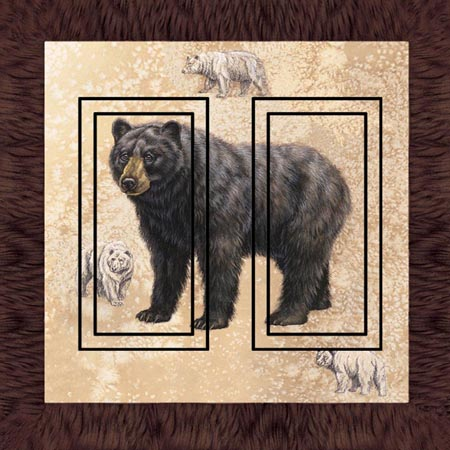 Black Bear 3C Double Rocker SwitchStix Peel and Stick Switch Plate Cover Décor