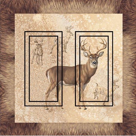 Whitetail Double Rocker SwitchStix Peel and Stick Switch Plate Cover Décor