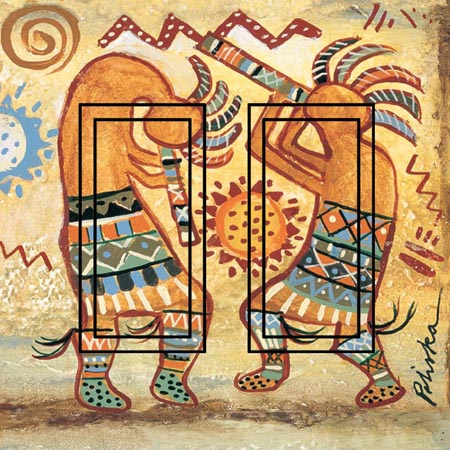 Kokopelli Dancer Double Rocker SwitchStix Peel and Stick Switch Plate Cover Décor