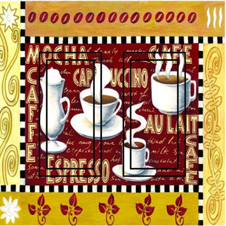 Coffee Time Double Rocker SwitchStix Peel and Stick Switch Plate Cover Décor
