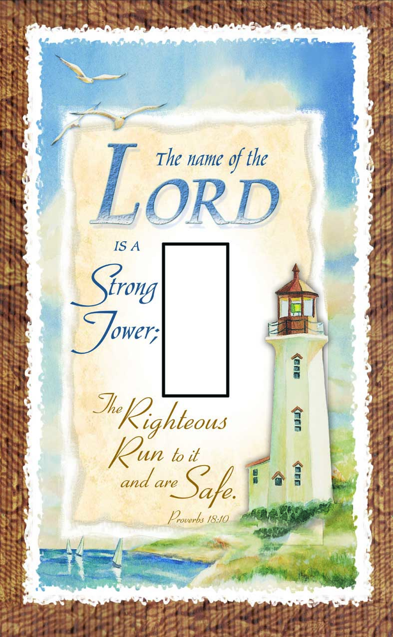 Proverbs 18:10 Single Toggle SwitchStix Peel and Stick Switch Plate Cover Décor