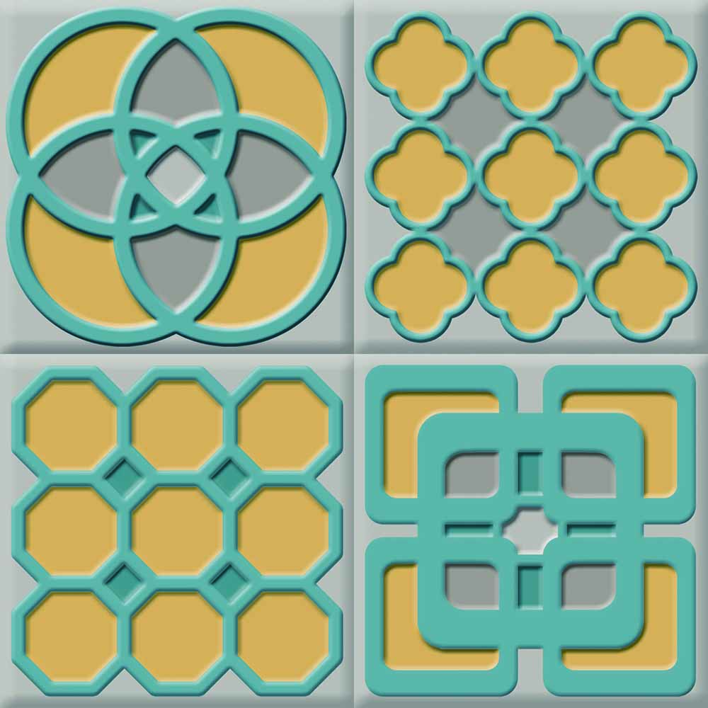 IdeaStix Geometric TileStix - Original Premium 4-Piece Peel and Stick Tile Décor
