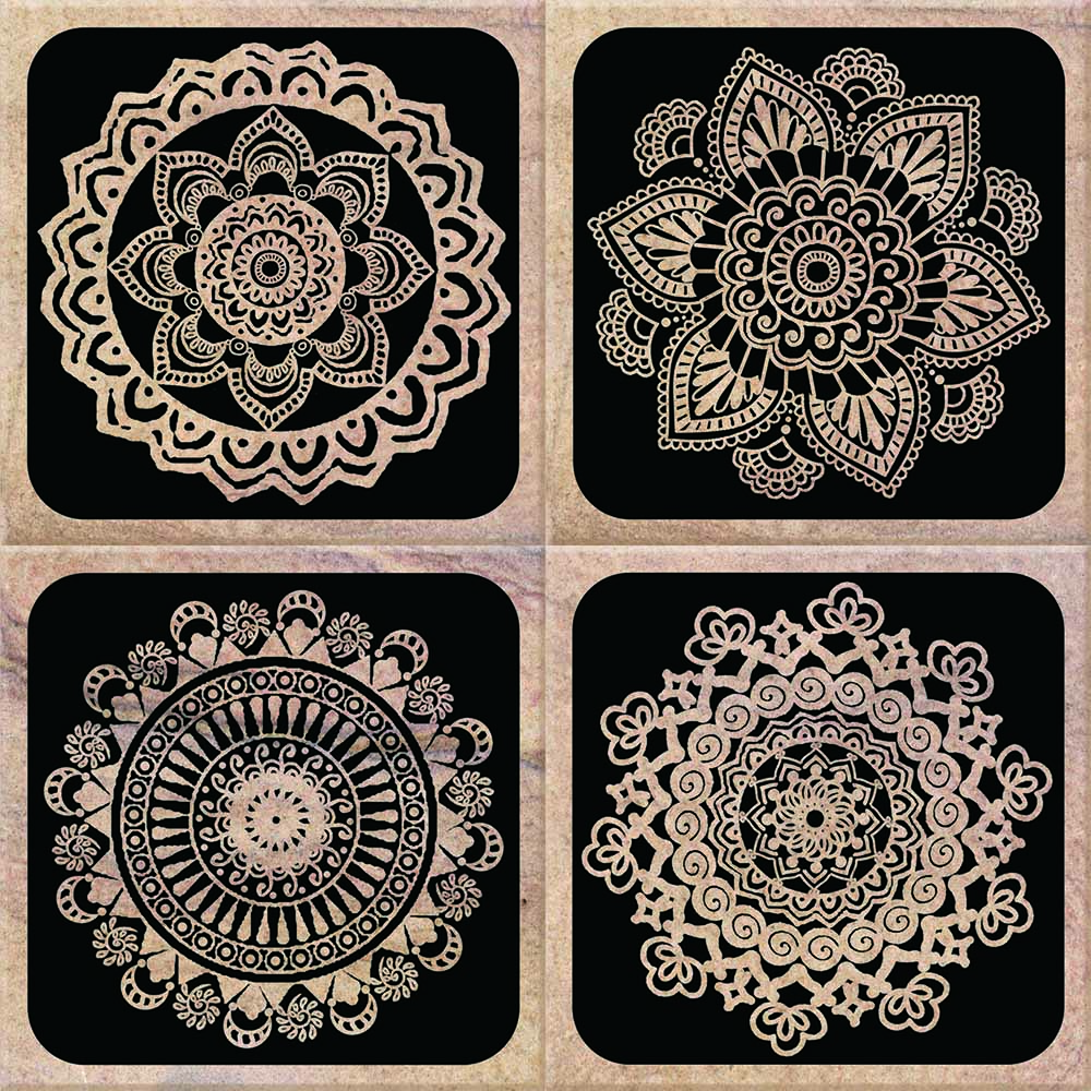 IdeaStix Henna TileStix - Original Premium 4-Piece Peel and Stick Tile Décor