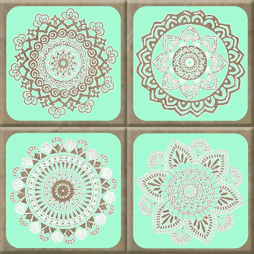 IdeaStix Henna Aqua TileStix - Original Premium 4-Piece Peel and Stick Tile Décor