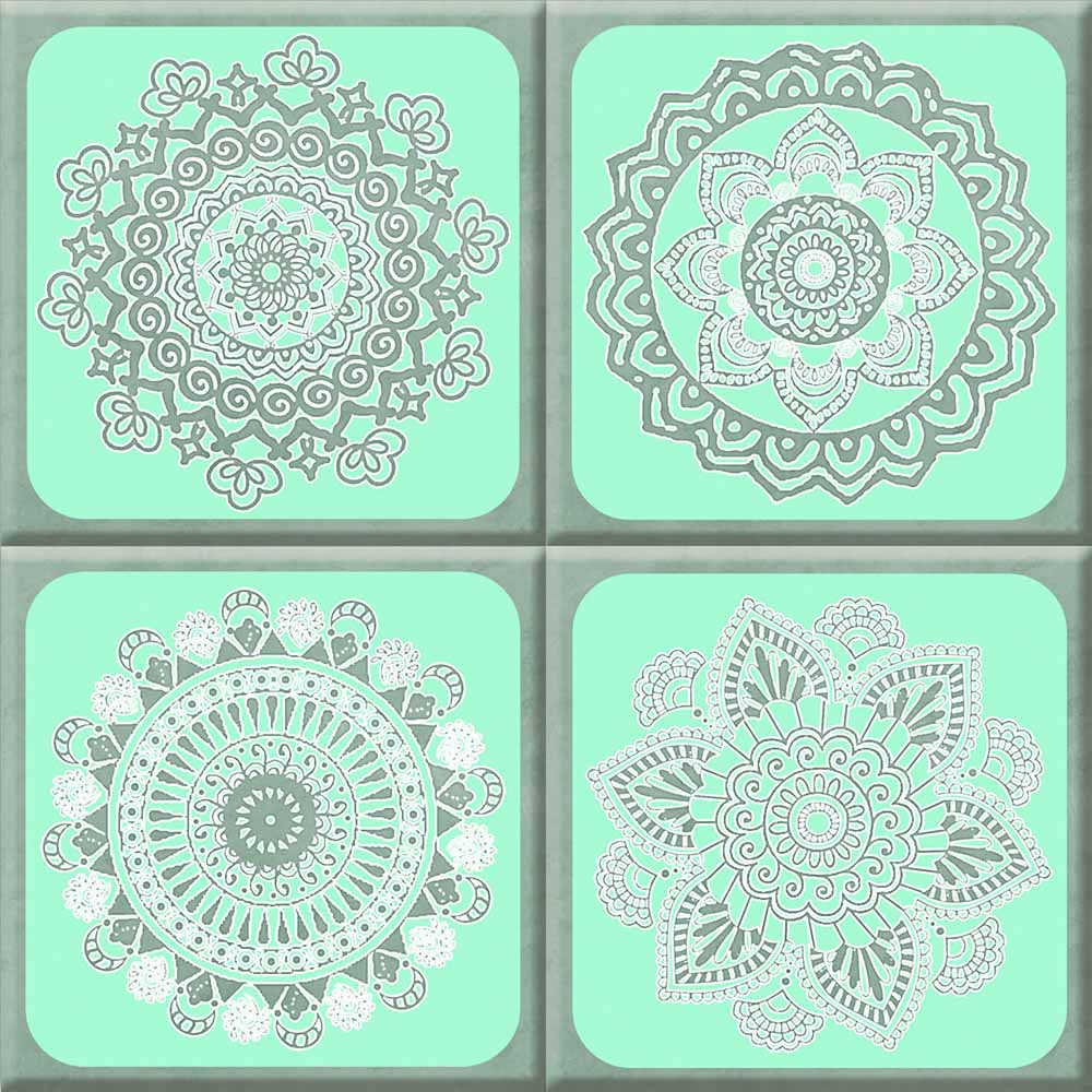 IdeaStix Henna Aqua Grey TileStix - Original Premium 4-Piece Peel and Stick Tile Décor